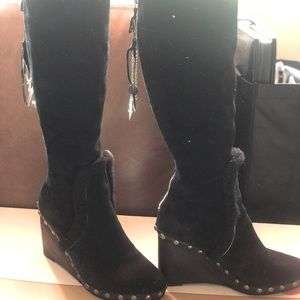 Wedge Knee Length Boots